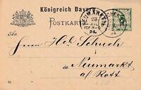 Postkarte Jahr 1894 verschickt von München nach Neumarkt Königreich Bayern