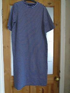 marks & spencer nautical striped navy & white stretch midi dress size 14 reg