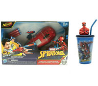 MARVEL SPIDER-MAN NERF POWER MOVES WEB BLAST W/ Spiderman Cup and Straw