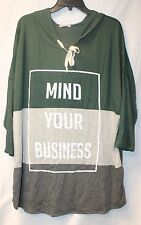 CUTE NEW WOMENS PLUS SIZE 3X MIND YOUR BUSINESS COLORBLOCK HOODED SHIRT HOODIE