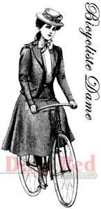 Deep Red Stamps Bicyclist Lady Rubber Cling Stamp