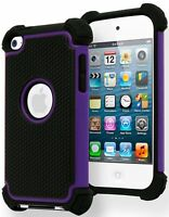 Hybrid Armor Case Purple / Black Silicone Cover for iPod Touch 4th Generation