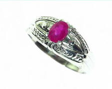 Natural Genuine Ruby Sterling Silver Fine Ring in a Antique Design RSS,543