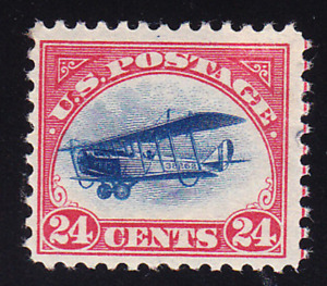 US Scott C3 old 24c 1st issue Curtiss Jenny air mail stamp M/LH/OG/F-VF CV $70