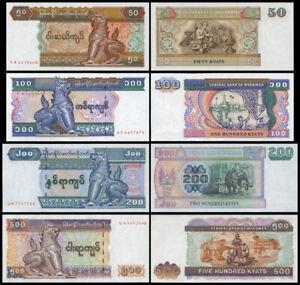 Myanmar Banknotes 50,100,200,500 Kyats UNC X4 PCS