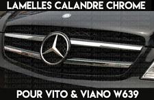 4 LAMELLES CHROME BAGUETTES ADHESIVES CALANDRE MERCEDES VITO & VIANO W639 2010-.