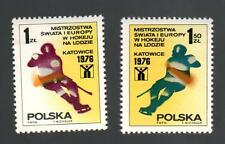 POLAND 1976 - Set of 2 Stamps - Ice Hockey World Championship, Katowice 1976