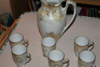 R S Prussia chocolate pot no lid 6 footed cups no saucers Yellow white roses