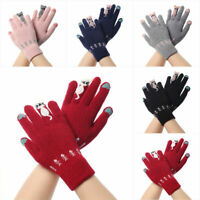 Womens Winter Warm Wool Gloves Cute Cat Knitted Wrist Gloves Female Mittens UK
