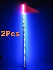 2Pcs 4 Feet Quick Release Atv Utv Led Light Whip with Flag - Blue color