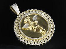 "Men's Yellow Gold Finish Angel Medallion Real Diamond Pendant Charm .50ct 2.5"""