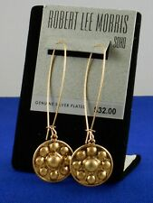 Robert Lee Morris Antique Gold Plated Textured Disc Long Wire Drop Earrings $32