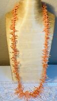 VTG Pink Angel Skin Natural Coral Necklace Branch Beaded Abstract  Authentic 62g