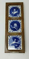 Vintage Pyraglass Tile Blue White Portraits of Peter Paul Rubens and Frans Hals