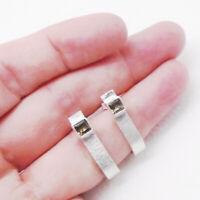Rauchquarz braun eckig Design Ohrringe Ohrstecker Stecker 925 Sterling Silber
