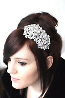 Bridal Bridesmaid Prom - Clear Diamante Crystal Silver Side Tiara headband