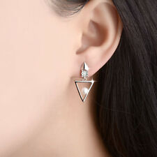 Fashion Solid 925 Sterling Silver Natural Zircon Triangle Ear Stud Earrings