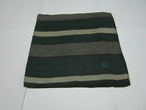 """USED 2 TONE STRIPED PATTERN COTTON 18"""" POCKET SQUARE HANDKERCHIEF HANKY FOR MEN"""