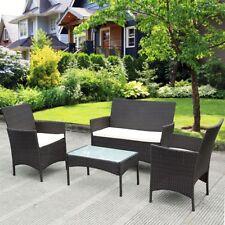 4 Pcs Garden Patio Rattan Wicker Chair Sofa Table Set Cushioned Furniture