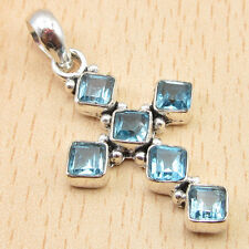 Plated Blue Topaz Lovely Pendant New Free Shipping on Additional Items! Silver