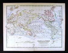 1883 Johnston Royal Atlas Map - World - Steamboat Routes & Ocean Currents