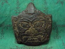 Giant God Rahu Om Moon Carved LP Noi Power Wealth Spiritual Thai Buddha Amulet