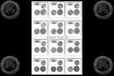 ITALY 25 Sets / 75 Aluminum Coins 1968 - 2001 (1 Lira + 2 Lire + 5 Lire) UNC