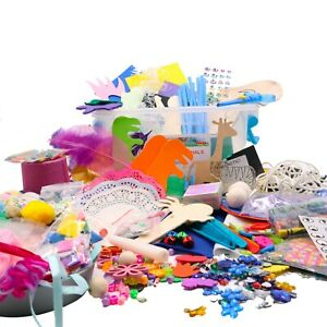 Assorted CRAFT MATERIALS  (+ glue) in a tub - 100s of pieces - Children 3+yrs