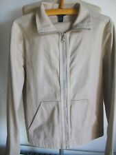 GAP Long Sleeve Beige Zipped Cotton Collared Jacket with Stretch, Size Small