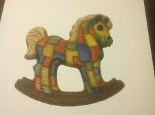 Vintage Homco Rocking Horse Resin Patchwork Wall Hanging