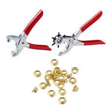 1 Set Steel Leather Hole Punch Plier Kit 6-Size Belt Puncher W/ Rivet Eyelets
