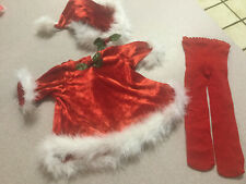 American Girl Doll, Bitty Baby Santa's Helper Set  Dress  Hat And Tights 2000
