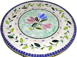 """30"""" White Marble Coffee Table Top Semi Precious Inlay Mosaic Floral Decors H3218"""