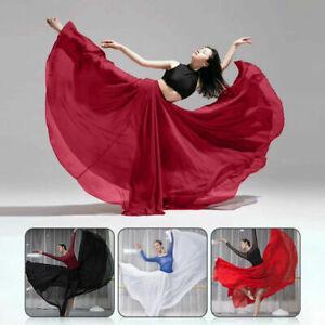 Women 360 Full Circle Skirts Chiffon Long Swing Belly Dance Costume Modern New