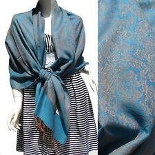 Echarpe étole impression cachemire pashmina soie excellente qualité bleu