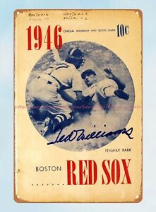 1946 baseball Boston Red Sox Program Score Card tin sign metal vines wall art