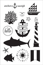 """Clear Stamp Set ANCHORS AWAY 4x6"""" Nautical Whale Lighthouse (Yellowed)"""