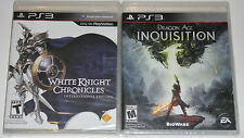 PS3 Video Game Lot - White knight Chronicles (New) Dragon Age Inquisition (New)