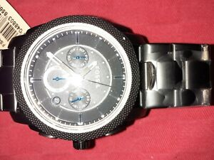 Fossil Mens Machine Chronograph Black Stainless Steel Watch FS4552 New RRP £199