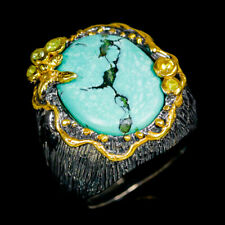 Handmade Natural Turquoise 925 Sterling Silver Ring Size 8.75/R112415