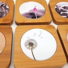 SET OF 6 Handmade Porcelain & Wood Coasters Asian Oriental Style Floral Flowers