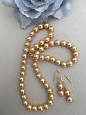 """18"""" d'Oro Shell Collana Di Perle & Orecchini Oro Giallo Su Argento Sterling"""
