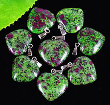 8pcs Charming green ruby zoisite heart pendant bead  By1217