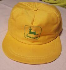 Vintage John Deere Louisville Mfg Snapback Cap Trucker Hat Yellow USA Farm vtg