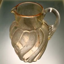 Victorian Era Glass Swirl Frosted Pitcher Northwood or Hobbs Very Uncommon