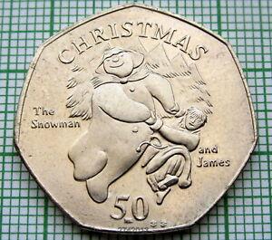 ISLE OF MAN 2003 BB 50 PENCE, CHRISTMAS, THE SNOWMAN AND JAMES, BU