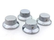 (4) Schaller Chrome/Brass Bell Knobs for USA Gibson® Guitar/Bass 6mm Shaft Pots