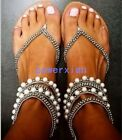 Summer Womens Sexy Pearl Flat Rhinestones Roma Sandal Casual Shoes US Sz Plus 45