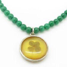 "Sterling Silver Jade Patrick Irish Lucky Clover Pendant Bead Necklace 16"" 12.3g"