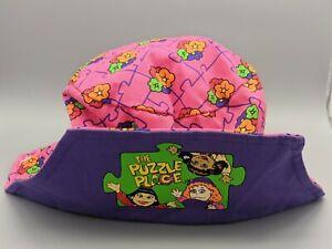 New Vintage 1990s PBS The Puzzle Place Kids Show Pink Floral Sun Hat Sz 3-6